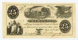 1861 25c S.W. & W.A. Torrey -NEW JERSEY Merchant Scrip CIVIL WAR Era w/ TRAIN
