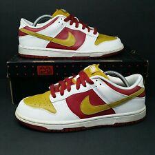 Nike Dunk Low NKE (Men's Size 8.5) Basketball Sneaker Shoes White Burgundy Gold