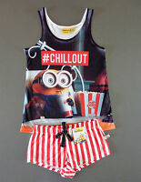 Minion Damen Pyjama Shorty Set Kurz Schlafanzug Top + Shorts XL 46-48 Primark