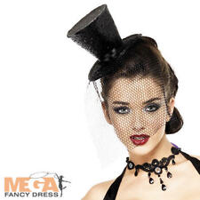 Black Sparkle Mini Top Hat Fancy Dress Halloween Burlesque Costume Ladies Access