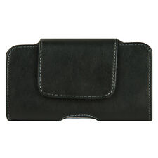 Black Leather Belt Clip Phone Pouch Holster Case Cover For iPhone Samsung LG HTC