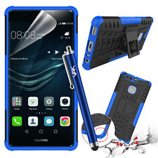Heavy Duty Tough Shockproof Hard Builder Stand Case Cover for Huawei P9 Stylus Blue