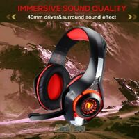 Red LED Pro Gaming Headset W/ Mic for XBOX One PS4 Headphones Microphone Beats