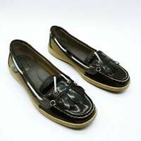 Sperry Top-Sider Womens Kiltie Boat Shoes Black Leather Lace Up Moc Toe 9 M