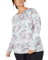 IDEOLOGY Women's Floral Lace-Up Top Plus Size 2X Pink Gray Yoga Pilates Workout