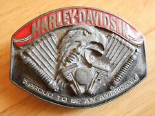 "HARLEY DAVIDSON - Boucle de ceinture Vintage - ""Proud to be an american"""