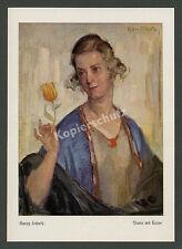 """Harry Schultz """"Dame mit Tulpe"""" Blume Blüte Schönheit Malerei Kunst München 1925"""