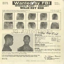 Wanted Notice - Willie Roy Reid/Interstate Flight - Burglary - FBI - 1961