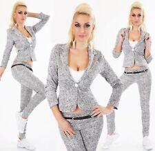 ITALY Damen Business Hose mit Gürtel Blazer Jacke Stretch schwarz weiß  S M L XL
