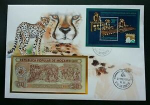[SJ] Mozambique Cheetah 1987 Wildlife Animal Leopard Big Cat FDC (banknote cover