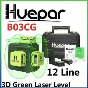 SALE! Huepar B03CG laser level multi lines Green Self-Leveling 3D 360 12 lines.