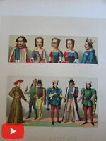 Racinet large folio costume prints lot x 20 colorful images fashion style dress