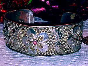 Amazing SAJEN Sterling Silver & Amethyst Wide Cuff Bracelet Flowers Feathers
