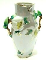 VINTAGE 1920s BLUE LUSTREWARE VASE CHERRY BLOSSOMS PORCELAIN ART NOUVEAU JAPAN