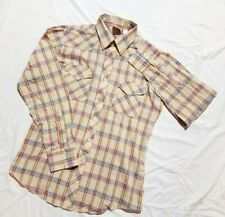 Lee Mens Western Rodeo Pearl Snap Cowboy Shirt L/S Pastel Plaid Large