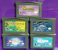 Nintendo Game Boy Advance Lot Disney Shrek Scooby Doo Spider-man Nemo Robinsons