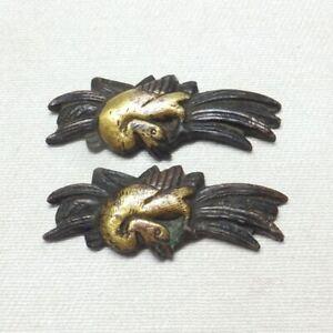 D1390: Real old Japanese sword ornament MENUKI of copper of crane pattern
