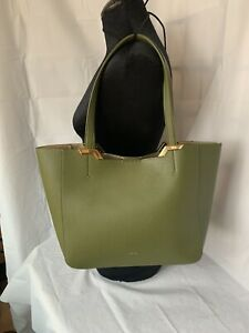 Laren By Ralph Lauren Womens Tote Bag Faux Olive Green Leather Shoulder Purse