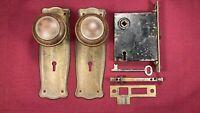 Vintage Antique Mortise Door Lock Escutcheon Knobs Spindle Working Key Hardware