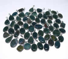 Beautiful 100 PCs Natural Bloodstone & Green Agate .925 Silver Plated Pendants