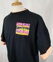 VTG Ocean Pacific T-Shirt XL Neon 90's Surf Skate Beach Tee Two Sided Black