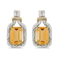14k Yellow Gold Emerald-cut Citrine And Diamond Earrings