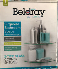 Beldray Bathroom  2 Tier Glass Corner Shelves  ( opened but never used)