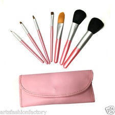 7-piece Professional Makeup Brush Cosmetic Brushes Kit w/ Pink Leather Case Set