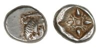 Greek Ancient, Iona Miletus, 6th/5th Century BC, SILVER 1/12th Stater Obol   010