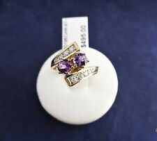 9CT SOLID YELLOW GOLD RING 2x4.0mm Amethysts & 8x diamonds 3.1g
