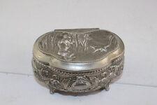 Antique Vintage Japanese SilverTone Metal Trinket Jewelry Box Red Velvet Lined