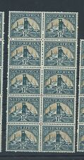 South Africa stamps 1933 etc 1 1/2d Gold Mine MNH block of 5 pairs. Folded (C940