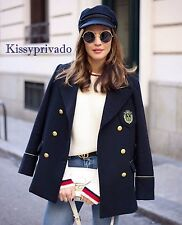 ZARA Navy Blue Double Breasted Wool Military Jacket Coat Gold Buttons L BNWT