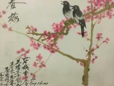 Handpainted 1999 Fengshui Chinese Painting Bird Flower Cherry Blossom Framed Art