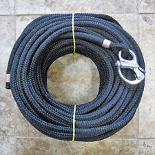"""1/2"""" x 165 ft black on black Dac/Polyester Halyard,Spliced in Fixed Bail Shackle"""