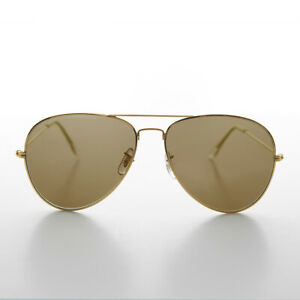 Gold Vintage Aviator Sunglass with Brown Glass Lens 62mm - Hughes