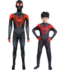 Miles Morales Spiderman Mens Kids Jumpsuit Cosplay Costume Adult Suit Halloween