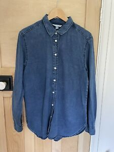 H&M Denim Shirt Blouse Oversized Size 10-12 Dark Blue