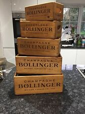 Set of 5 BOLLINGER  Champagne Antique Vintage Style  Wooden Boxes
