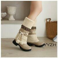 Women's Lady Furry Mid Calf Boots Low Chunky Heel Winter Warm Snow Fashion Boots
