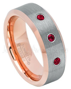 Rose Gold Tungsten Ring, 0.21ctw Ruby 3-Stone Ring, July Birthstone Ring #742