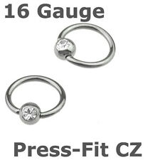 """Pair 16g 3/8"""" Clear C.Z surgical steel captive rings, eyebrow, nose, Lip, lope"""