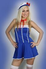 Halloween Womens Blue Lingerie Sailor Uniform Fancy Dress Costume 8-12
