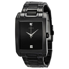 NEW GUESS WATCH Men * Classic Black Retangular Steel Watch * Diamond * U12557G1