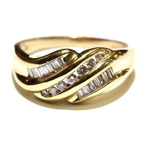 14k yellow gold .46ct SI1 H round diamond cluster womens ring 5.8g estate