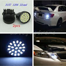 2x White Xenon 1206 22SMD Car 3157 LED Bulbs Brake Light 3057 3457 4157 3047