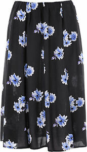 Ladies Womens Floral Skirt 8 Panel 27 Inch Length Elasticated Waist KK60