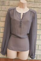 NEXT TAUPE GREY HALF BUTTONED LONG SLEEVE SHEER BAGGY TUNIC TOP BLOUSE 10 S