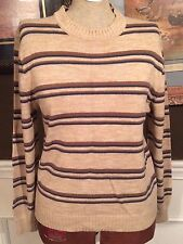 Womens Clothing Fall Winter Sweater Brown Stripe Warm Kingsport Small Acrylic US