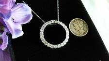 Sterling Silver Large Genuine Diamonds Circle of Life Ring Pendant Necklace